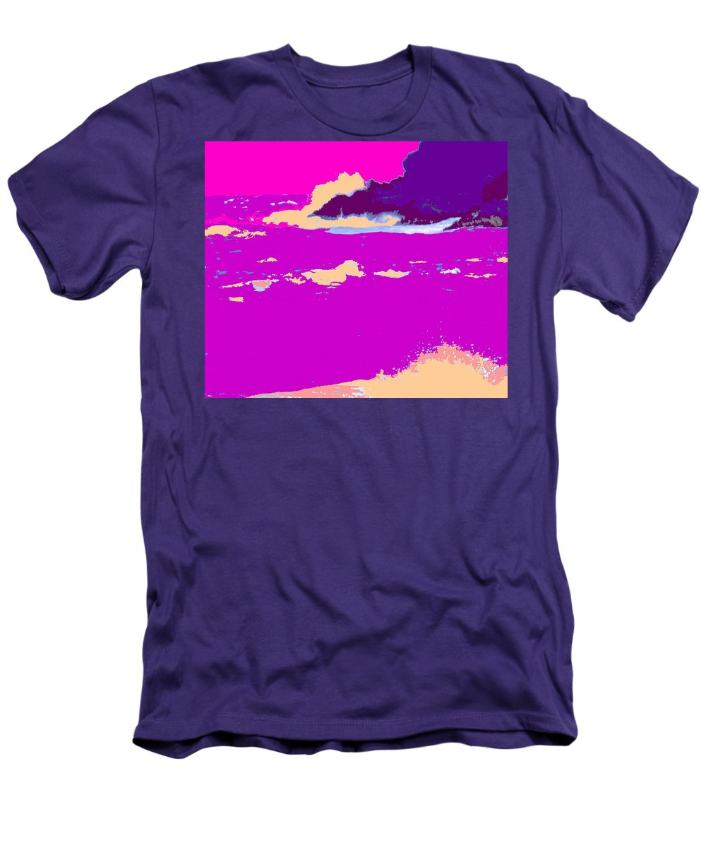 Waves Men's T-Shirt (Athletic Fit) featuring the photograph Purple Crashing Waves by Ian MacDonald