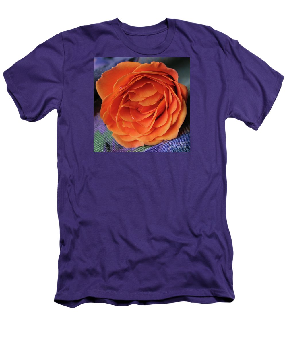 Rose Men's T-Shirt (Athletic Fit) featuring the photograph Really Orange Rose by Ann Horn