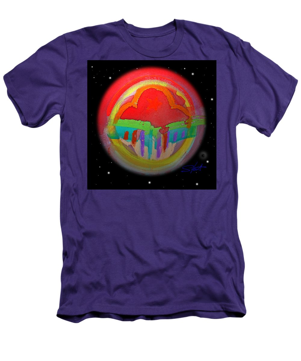 Landscape Men's T-Shirt (Athletic Fit) featuring the painting Red Planet by Charles Stuart