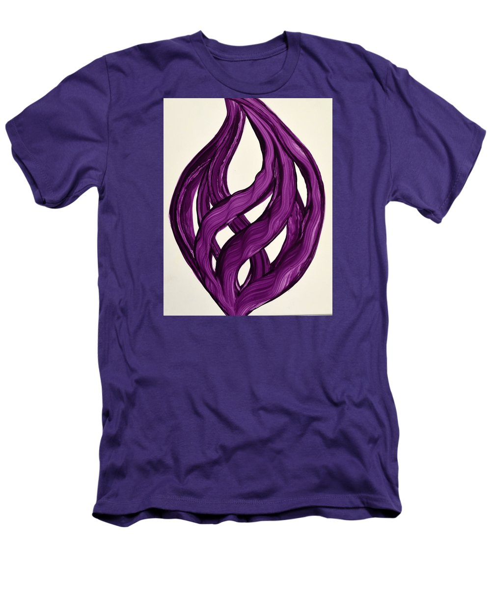 Abstract Art Yupo Comtemporary Modern Pop Romantic Vibrant Men's T-Shirt (Athletic Fit) featuring the painting Ribbons Of Love-violet by Manjiri Kanvinde