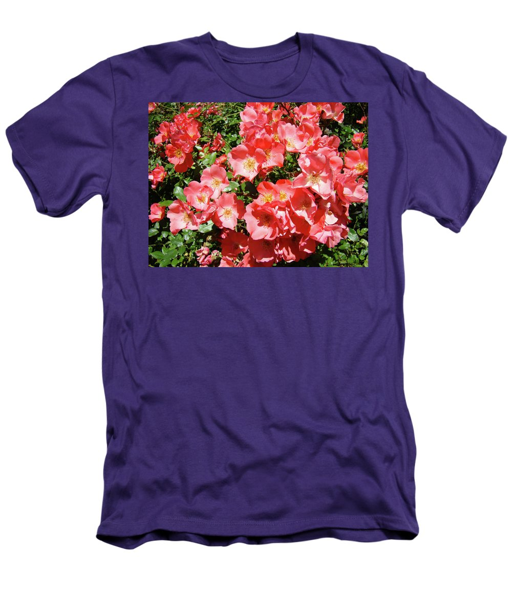 Rose Men's T-Shirt (Athletic Fit) featuring the photograph Rose Garden Pink Roses Botanical Landscape Baslee Troutman by Baslee Troutman