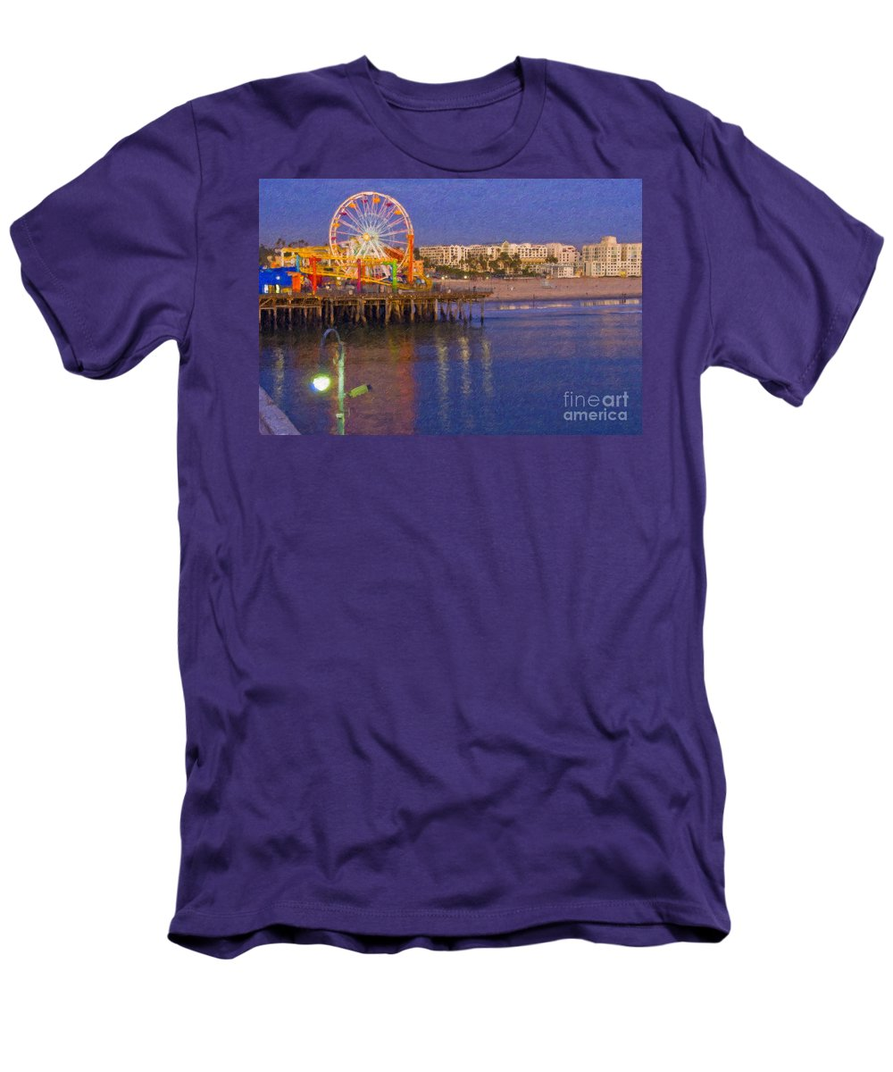 Santa Monica Men's T-Shirt (Athletic Fit) featuring the photograph Santa Monica Pacific Park Pier And Lowes Hotel by David Zanzinger