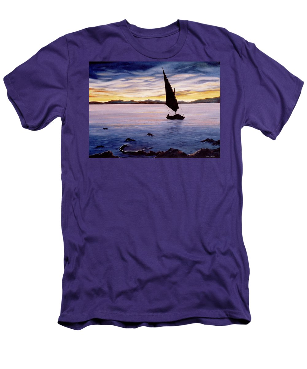 Seascape Men's T-Shirt (Athletic Fit) featuring the painting Sea Of Souls by Mark Cawood