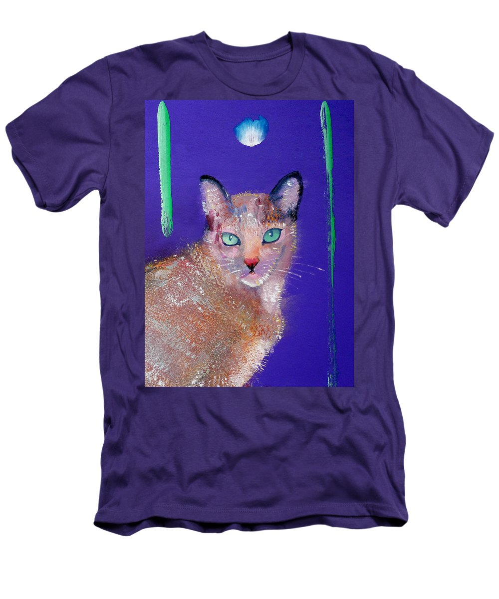 Cat Men's T-Shirt (Athletic Fit) featuring the painting Siamese Cat by Charles Stuart