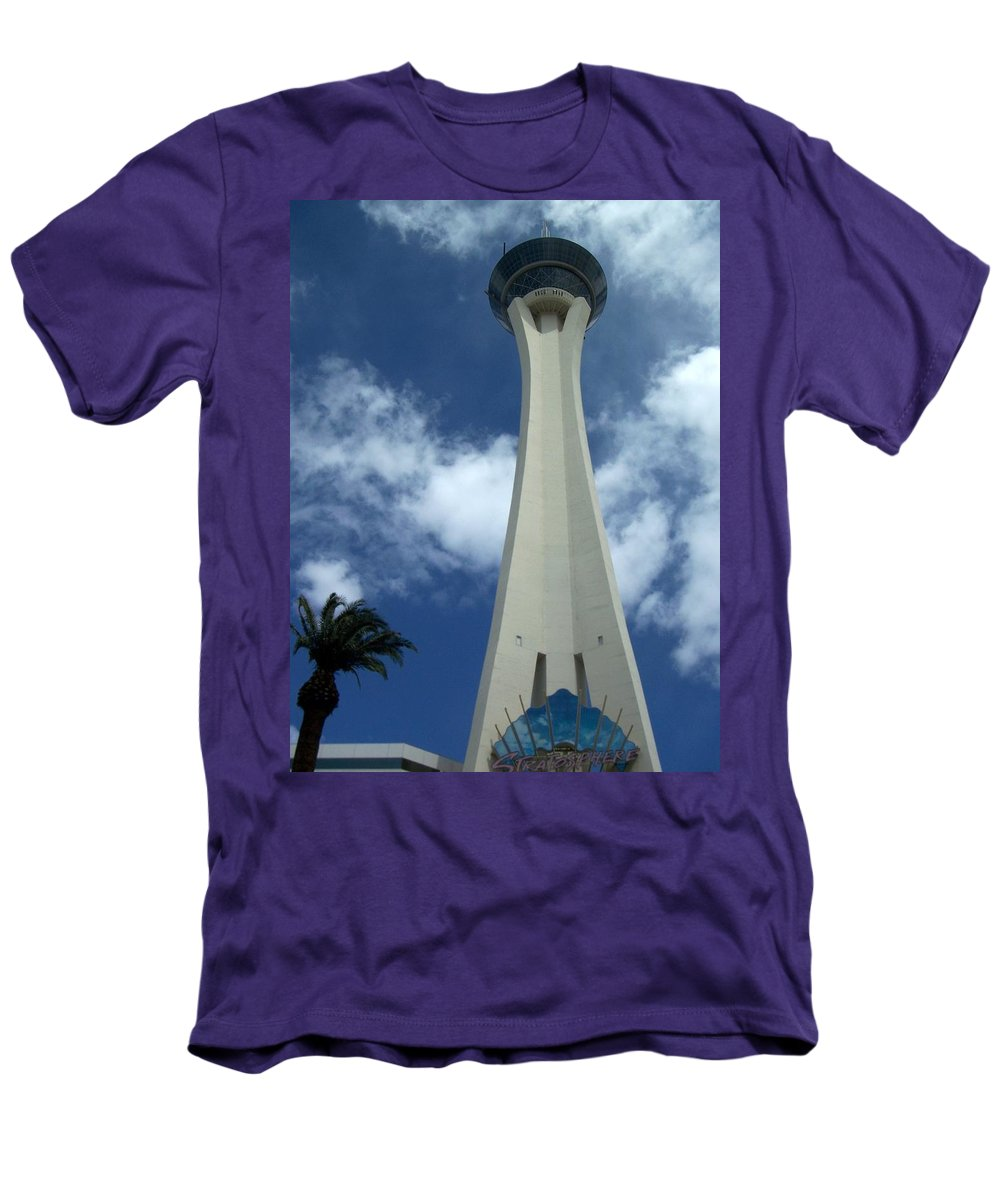 Stratosphere Tower Men's T-Shirt (Athletic Fit) featuring the photograph Stratosphere Tower by Anita Burgermeister