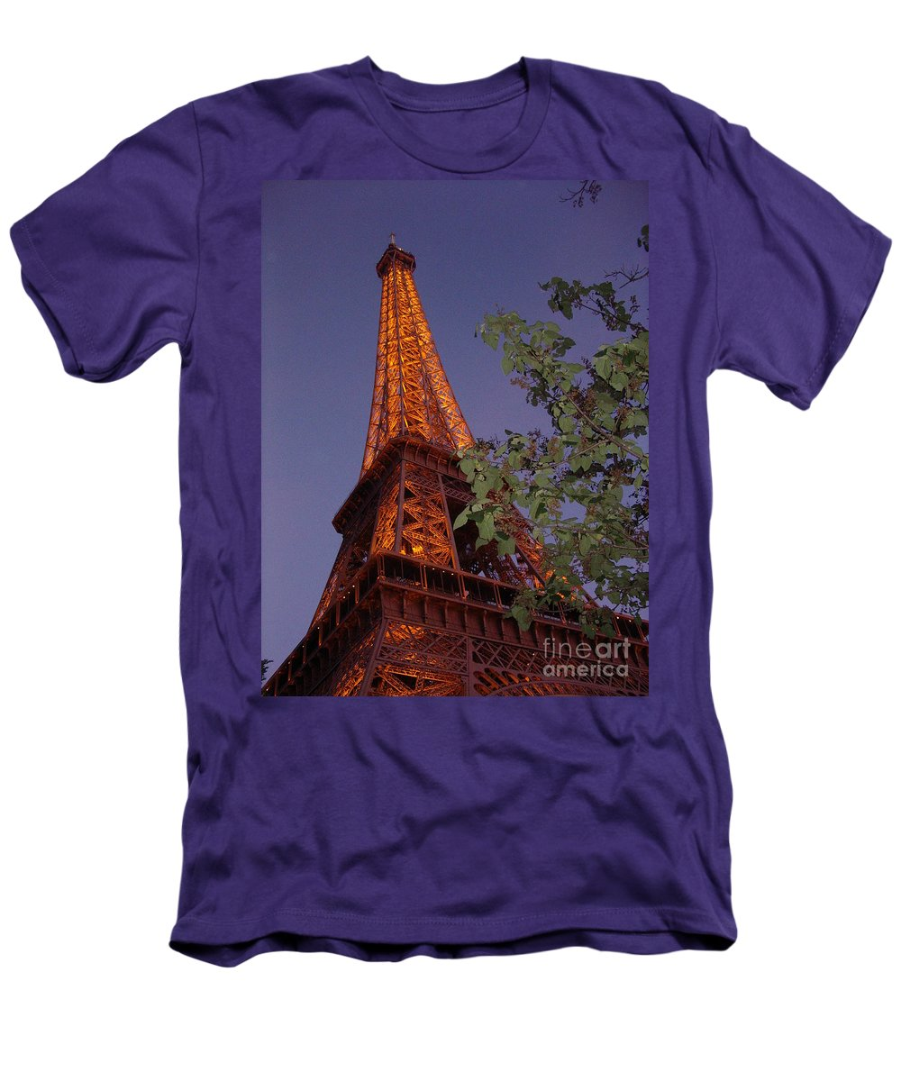 Tower Men's T-Shirt (Athletic Fit) featuring the photograph The Eiffel Tower Aglow by Nadine Rippelmeyer
