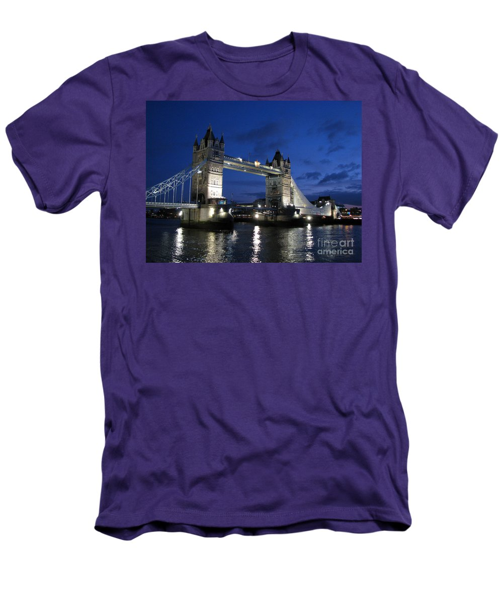 London Men's T-Shirt (Athletic Fit) featuring the photograph Tower Bridge by Amanda Barcon