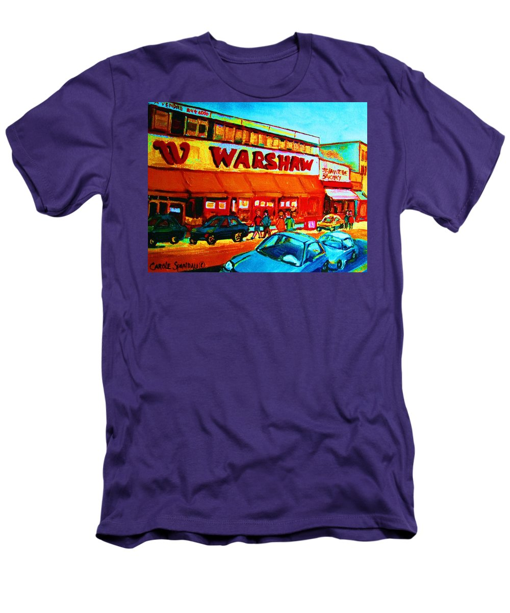 Warshaws Fruit Store Men's T-Shirt (Athletic Fit) featuring the painting Warshaws Fruitstore On Main Street by Carole Spandau