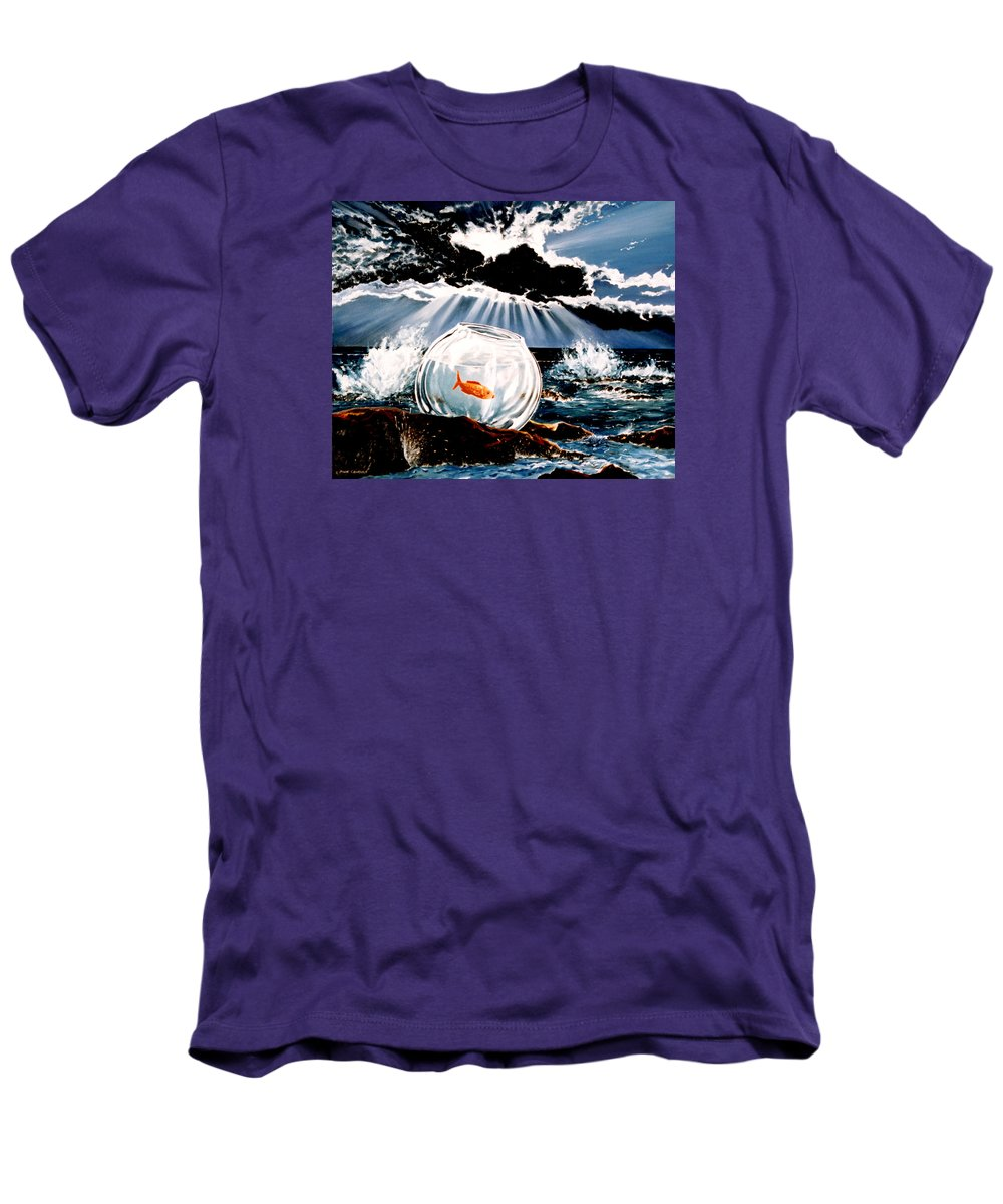 Surreal Men's T-Shirt (Athletic Fit) featuring the painting Wish You Were Here by Mark Cawood
