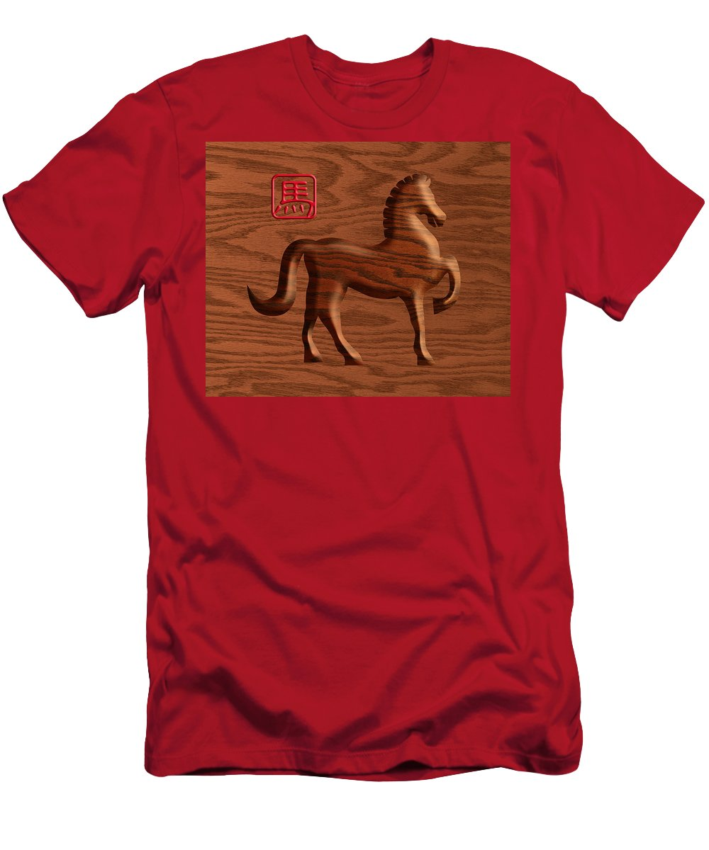 Chinese Men's T-Shirt (Athletic Fit) featuring the photograph 2014 Chinese Wood Zodiac Horse Illustration by Jit Lim