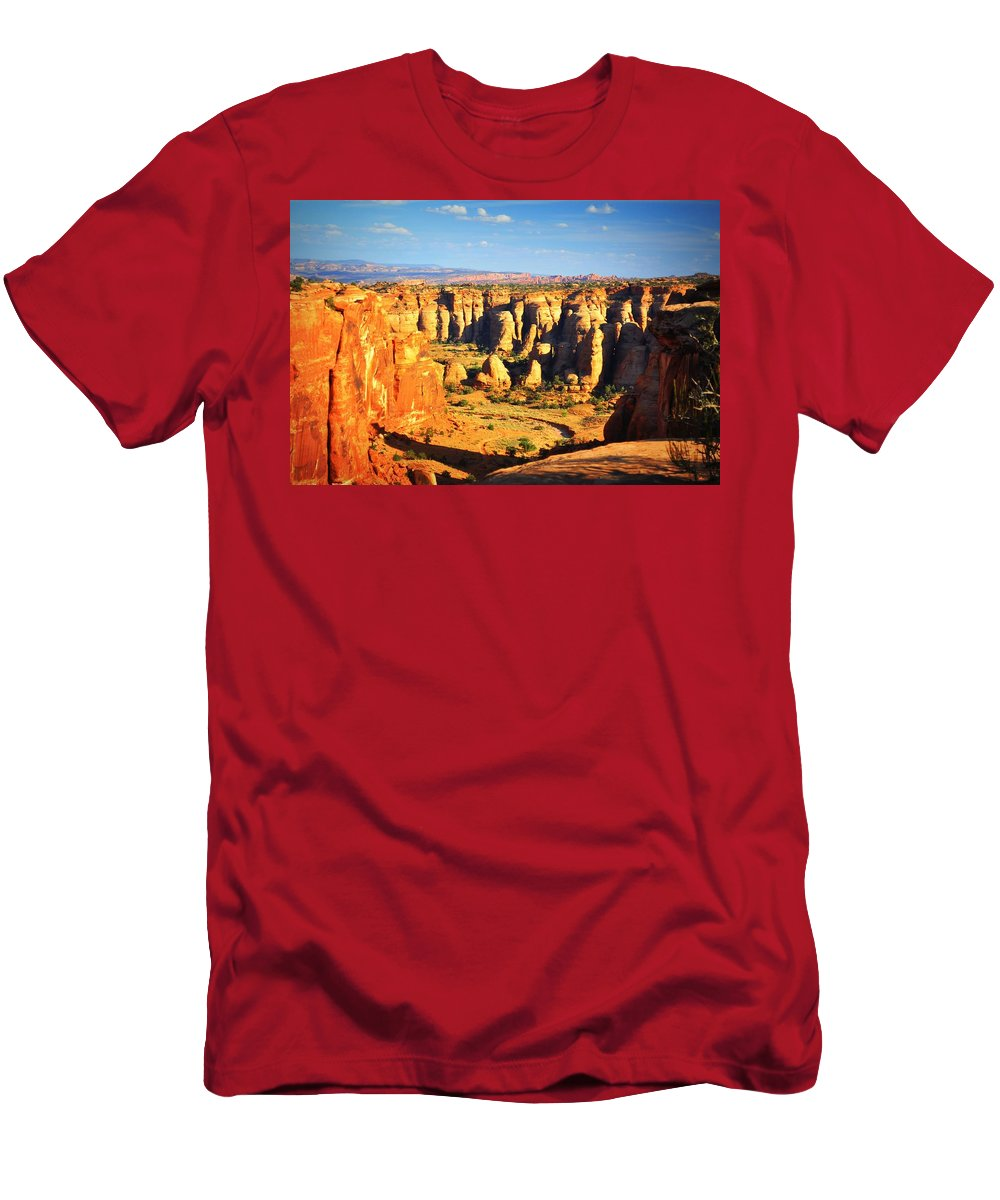 Canyon Men's T-Shirt (Athletic Fit) featuring the photograph At Gemini Bridges by Marty Koch