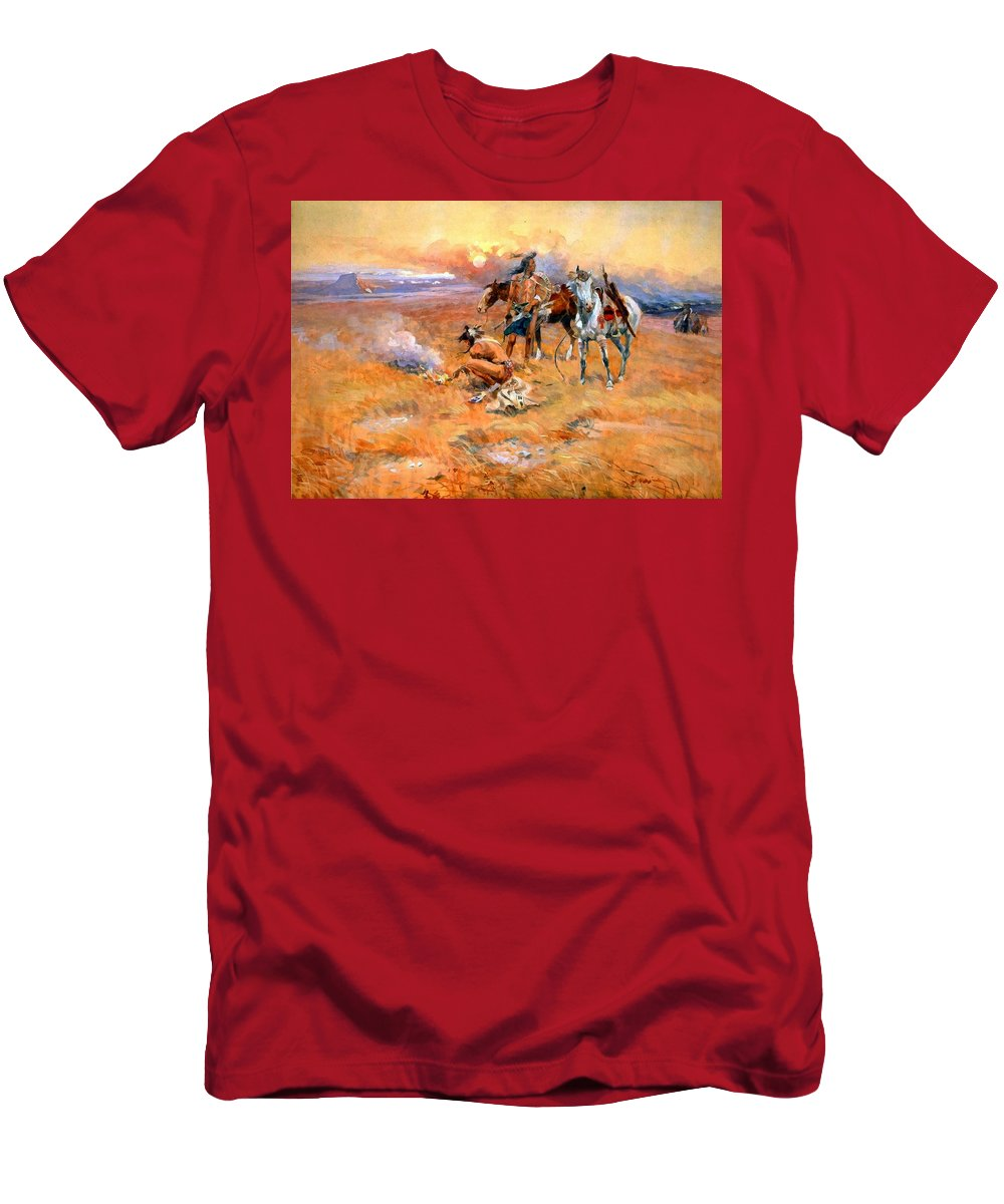 Charles Russell Men's T-Shirt (Athletic Fit) featuring the digital art Blackfeet Burning Crow Buffalo Range by Charles Russell