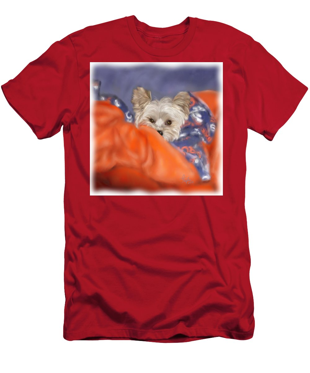Dogs Men's T-Shirt (Athletic Fit) featuring the painting Bronco Maggie by Colleen Taylor