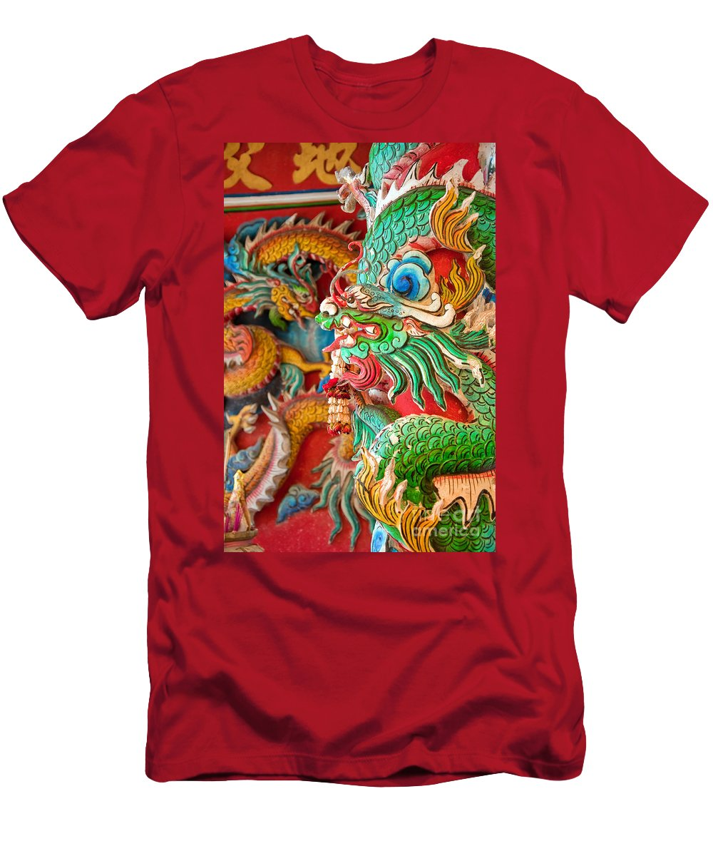 Hua Men's T-Shirt (Athletic Fit) featuring the photograph Chinese Temple Detail by Antony McAulay