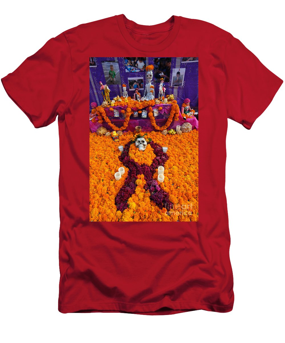 Travel Men's T-Shirt (Athletic Fit) featuring the photograph Day Of The Dead Altar, Mexico by John Shaw