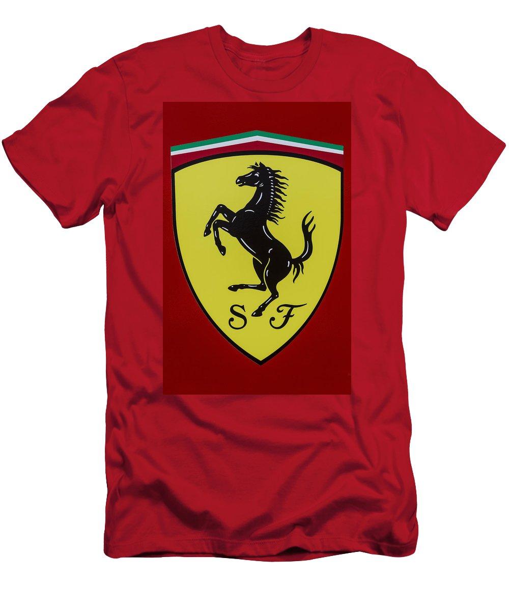 Ferrari Men's T-Shirt (Athletic Fit) featuring the photograph Ferrari Emblem by Jose Bispo