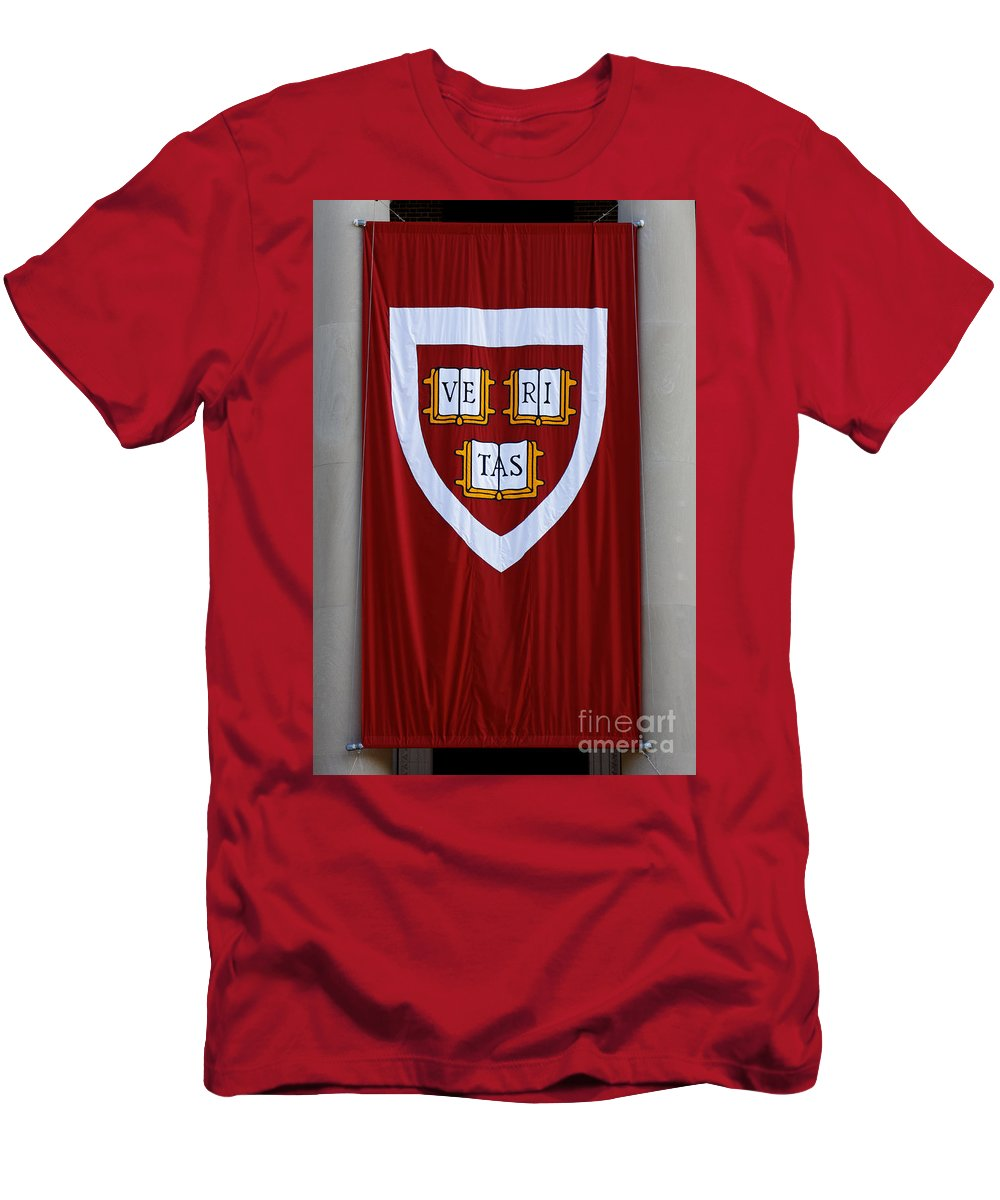 Arms Men's T-Shirt (Athletic Fit) featuring the photograph Harvard Veritas Banner by Jannis Werner