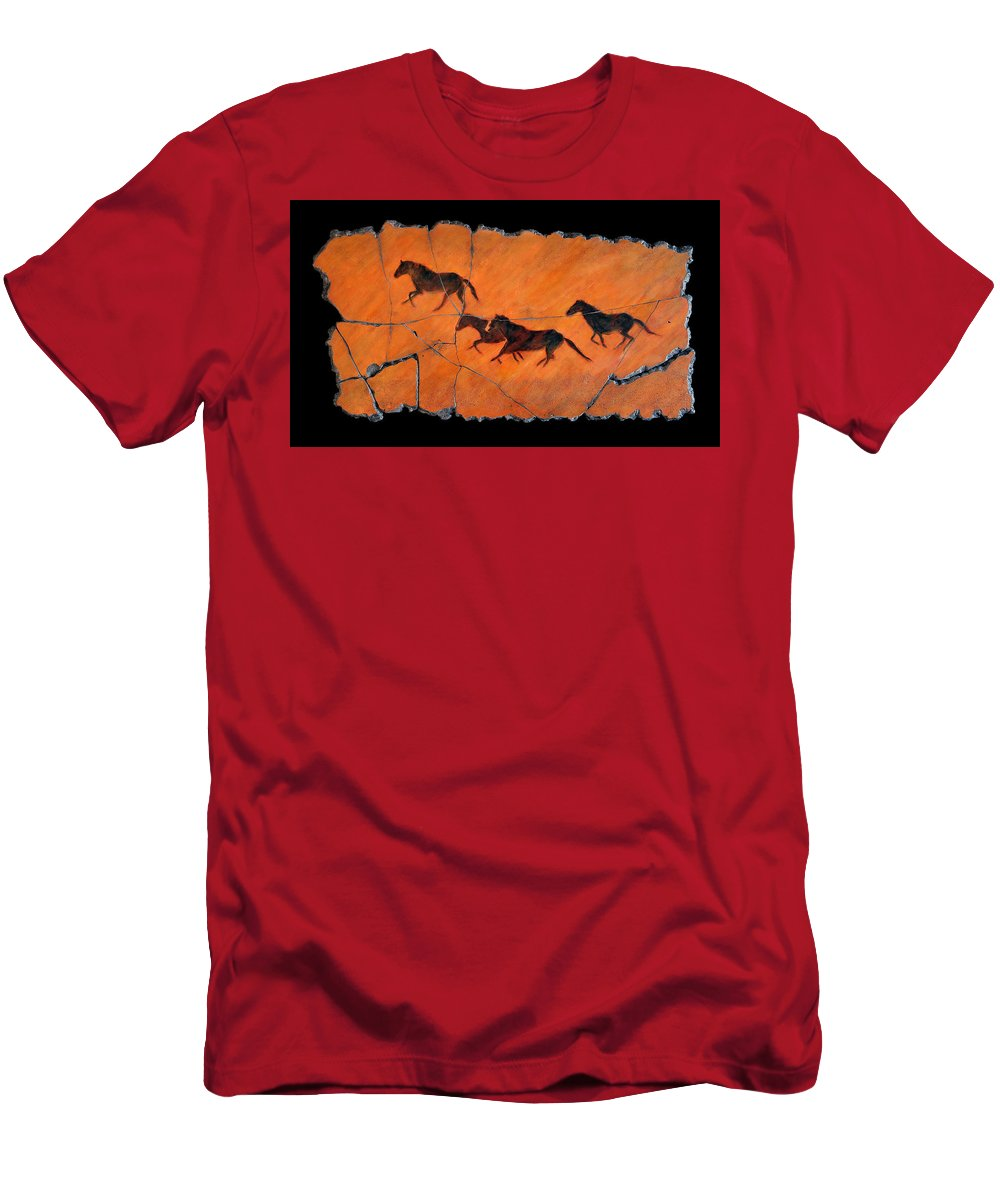 Horse Men's T-Shirt (Athletic Fit) featuring the painting High Desert Horses by Steve Bogdanoff