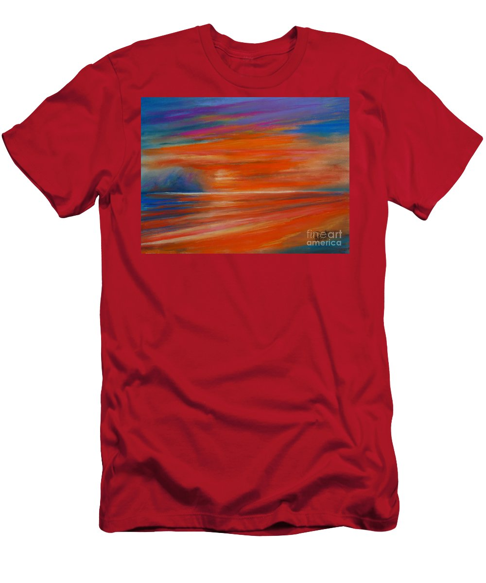 Seascape Men's T-Shirt (Athletic Fit) featuring the painting Impression Sunset 02 by Pusita Gibbs