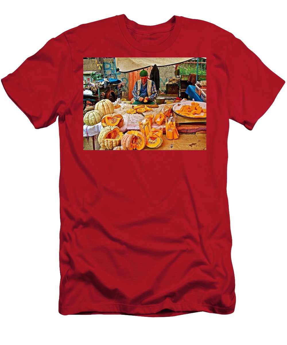 Man Peeling Squash In Antalya Street Market Men's T-Shirt (Athletic Fit) featuring the photograph Man Peeling Squash In Antalya Street Market-turkey by Ruth Hager