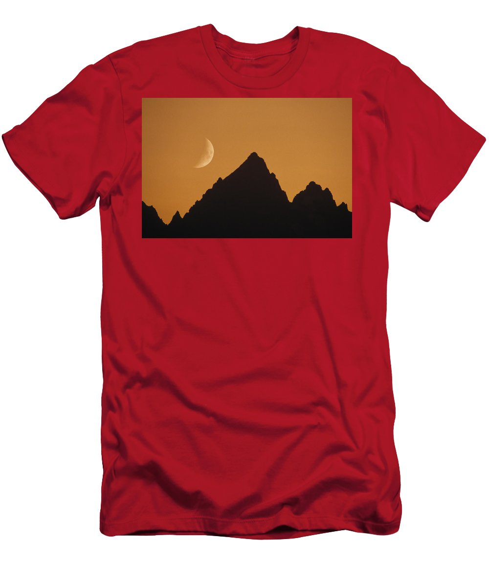 Feb0514 Men's T-Shirt (Athletic Fit) featuring the photograph Moon Over Rockies Grand Teton Np by Gerry Ellis