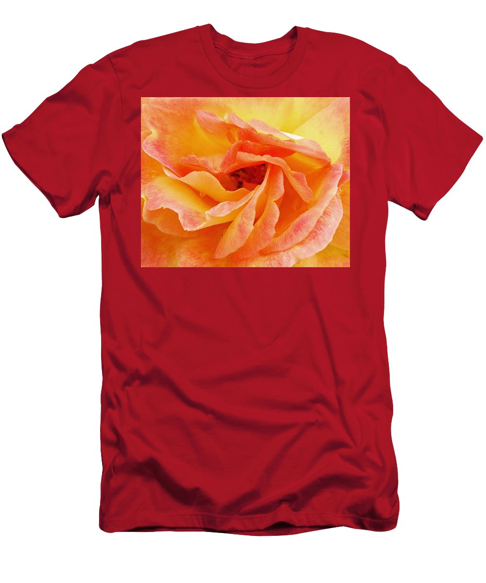 Peach Rose Men's T-Shirt (Athletic Fit) featuring the photograph Peach Rose by Allen Beatty