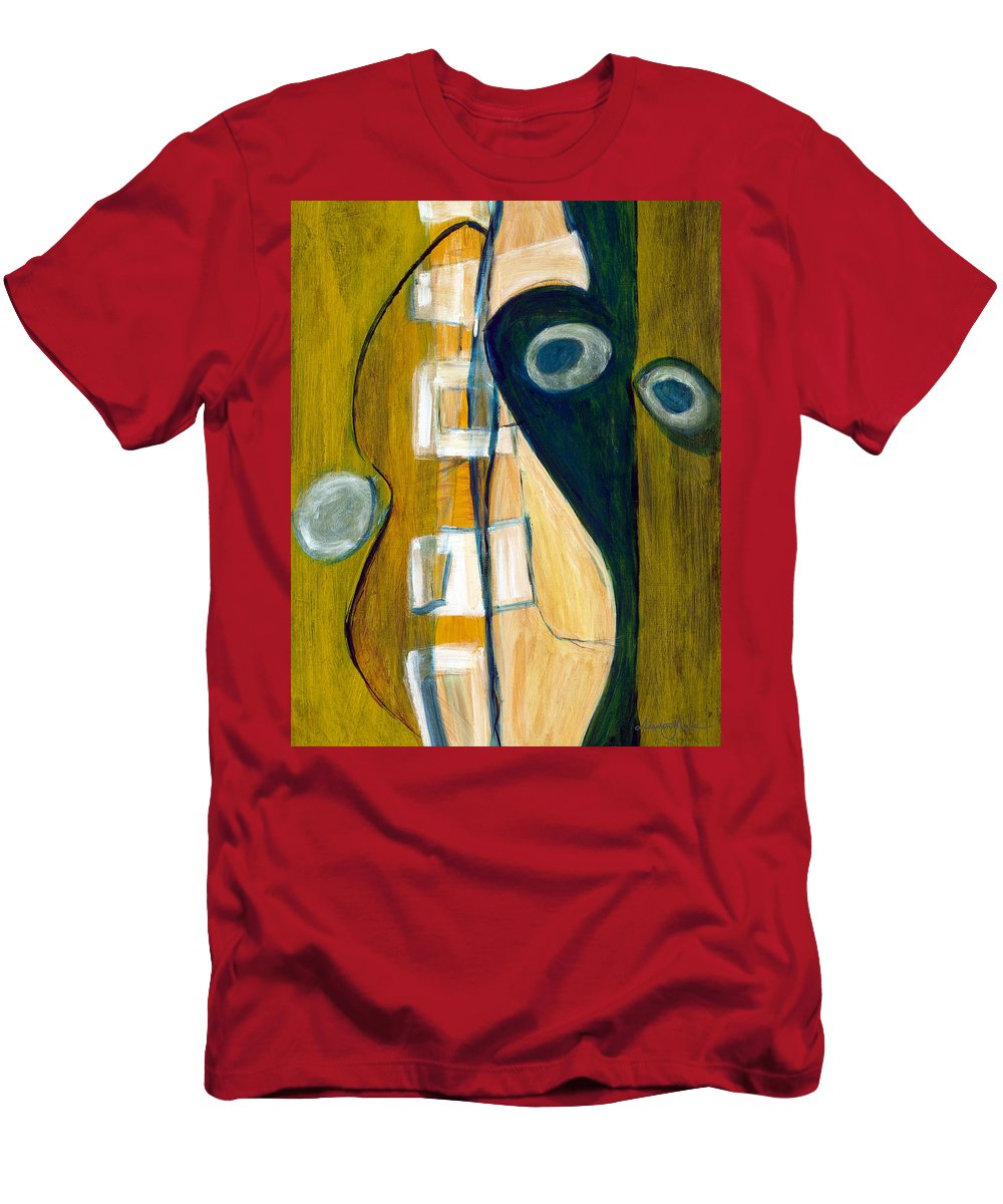 Abstract Art Men's T-Shirt (Athletic Fit) featuring the painting Portrait Of A Humble Man by Stephen Lucas