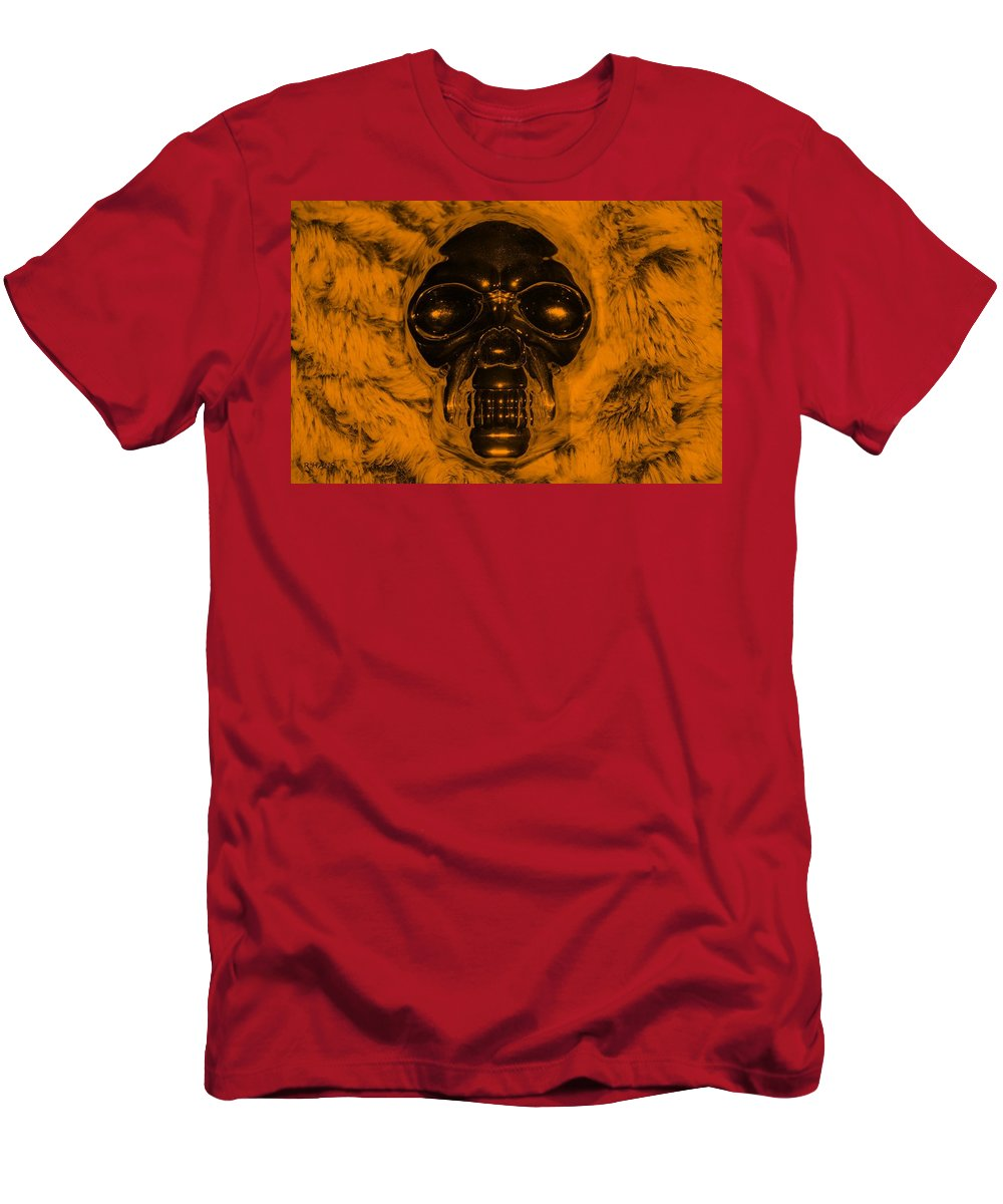 Skull Men's T-Shirt (Athletic Fit) featuring the photograph Skull In Orange by Rob Hans