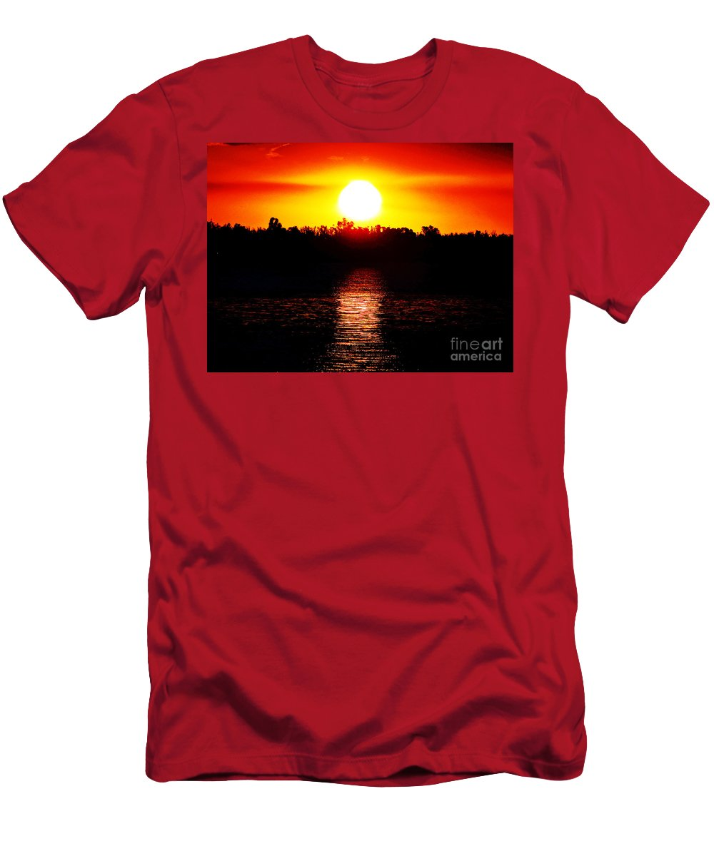 Sunset Men's T-Shirt (Athletic Fit) featuring the photograph Sun 3 by Ben Yassa