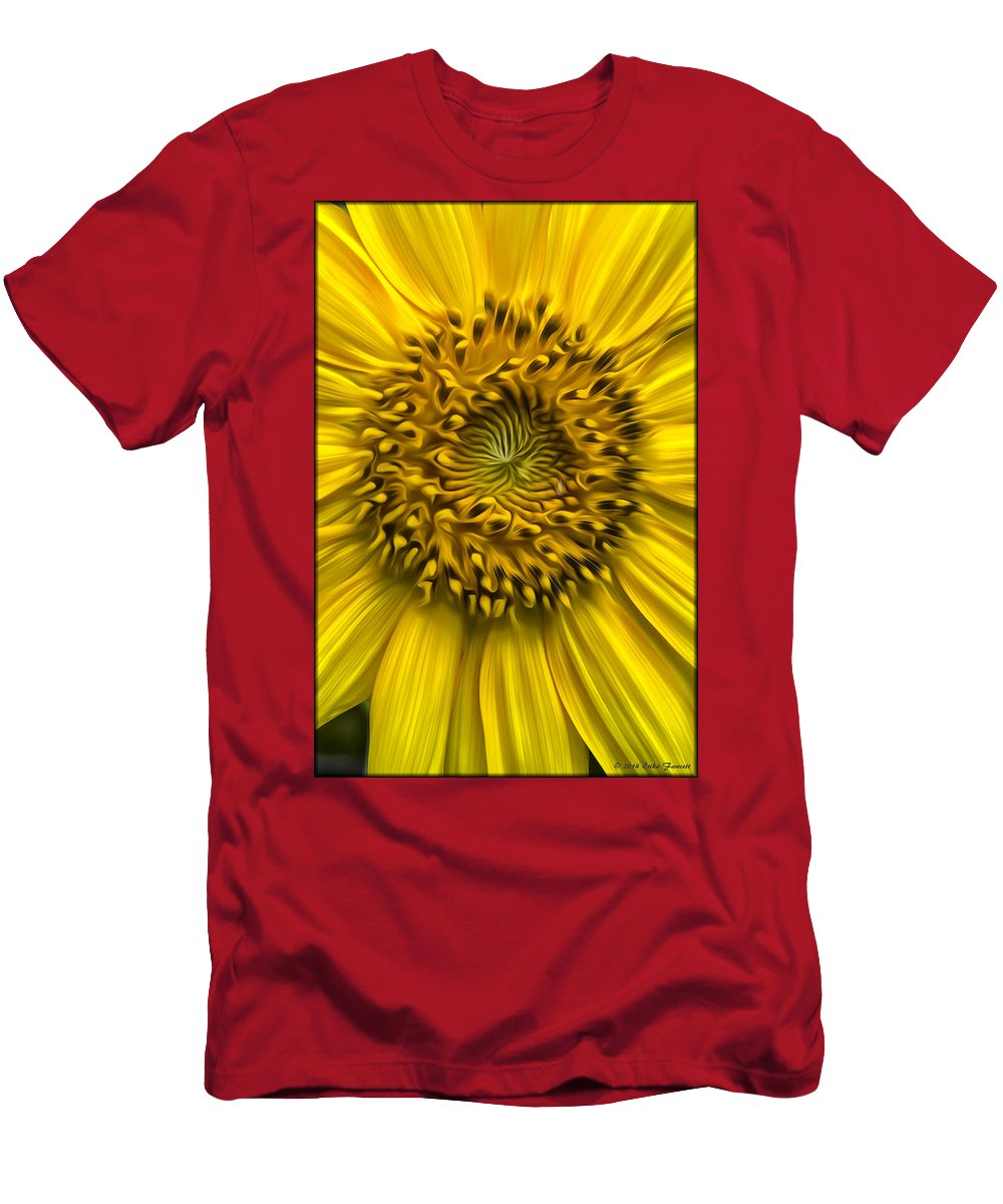 Sunflower Men's T-Shirt (Athletic Fit) featuring the photograph Sunflower In Oil Paint by Erika Fawcett