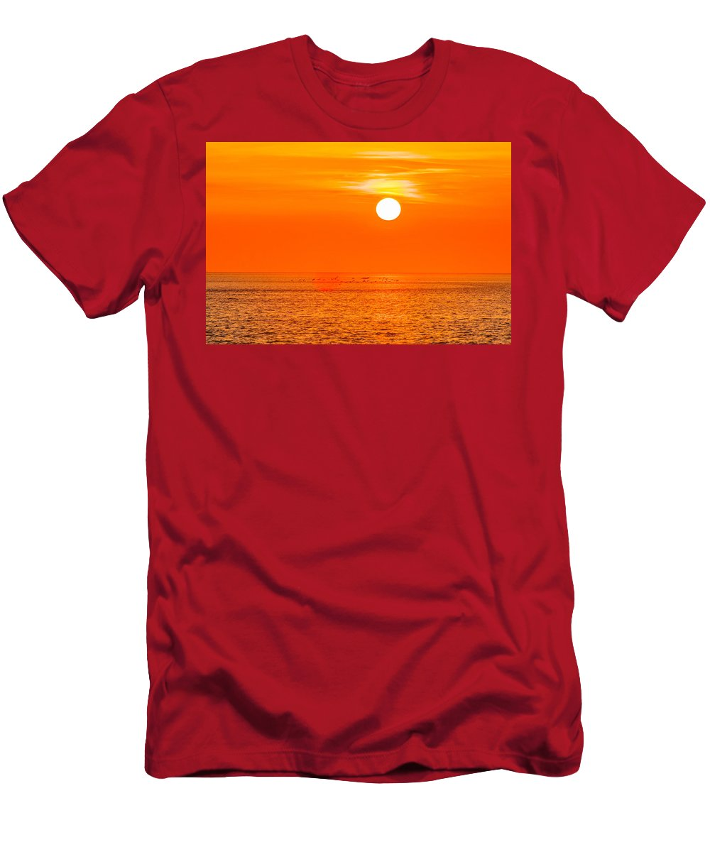 Sunset Men's T-Shirt (Athletic Fit) featuring the photograph Sunset At Sea With Multiple Color Prizm by Alex Grichenko