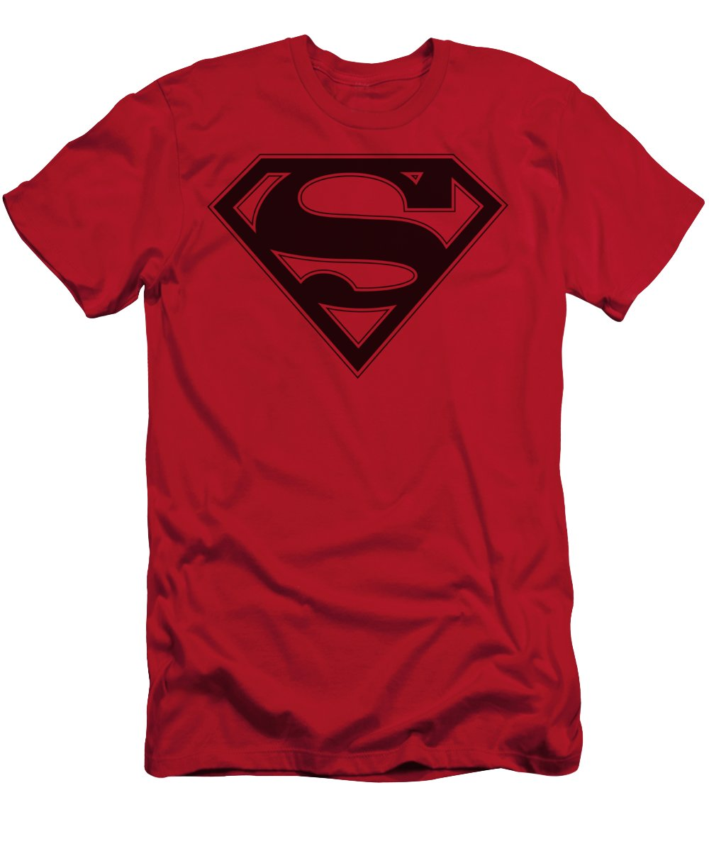 Superman T-Shirt featuring the digital art Superman - Red And Black Shield by Brand A