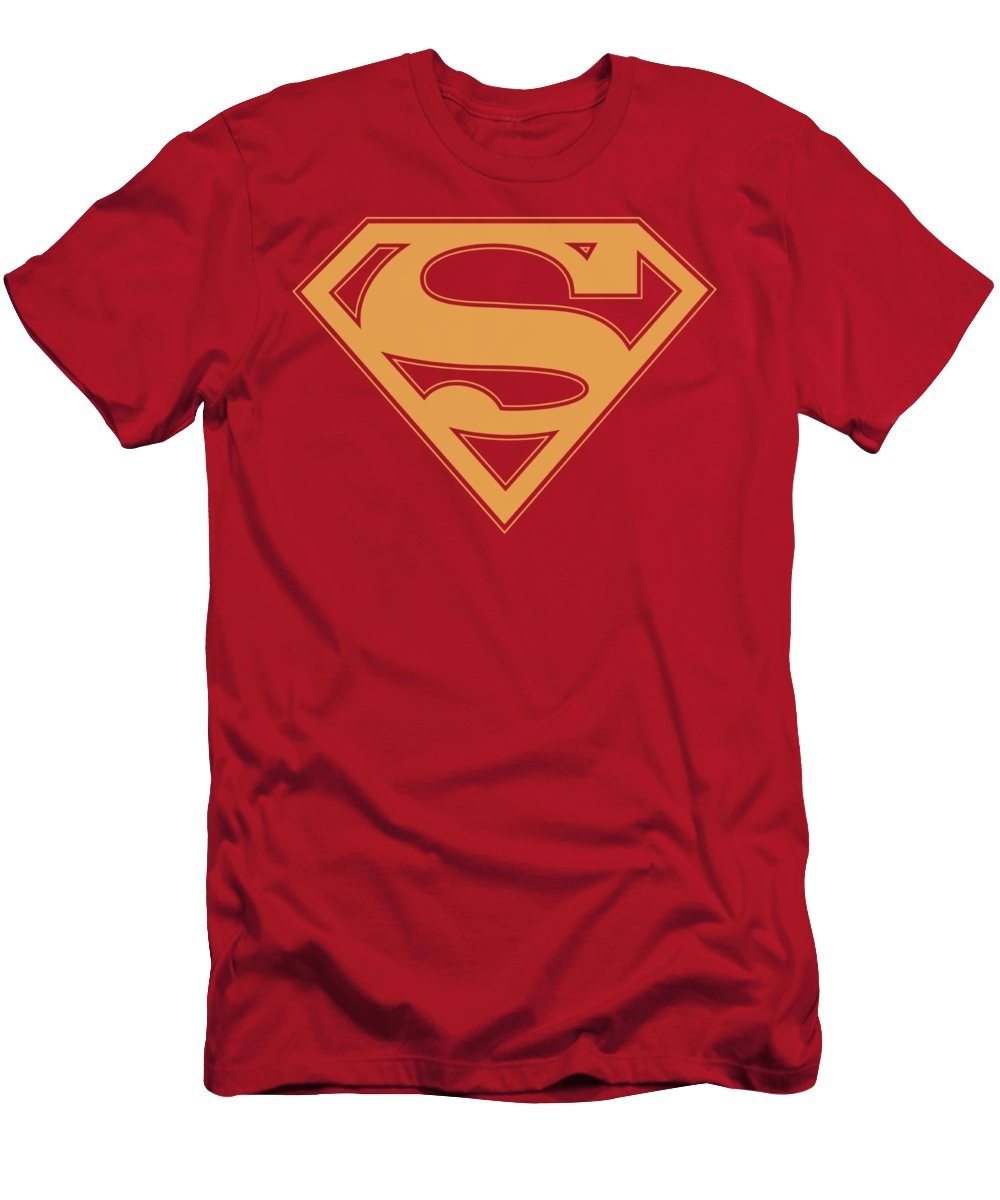 Superman T-Shirt featuring the digital art Superman - Red And Gold Shield by Brand A