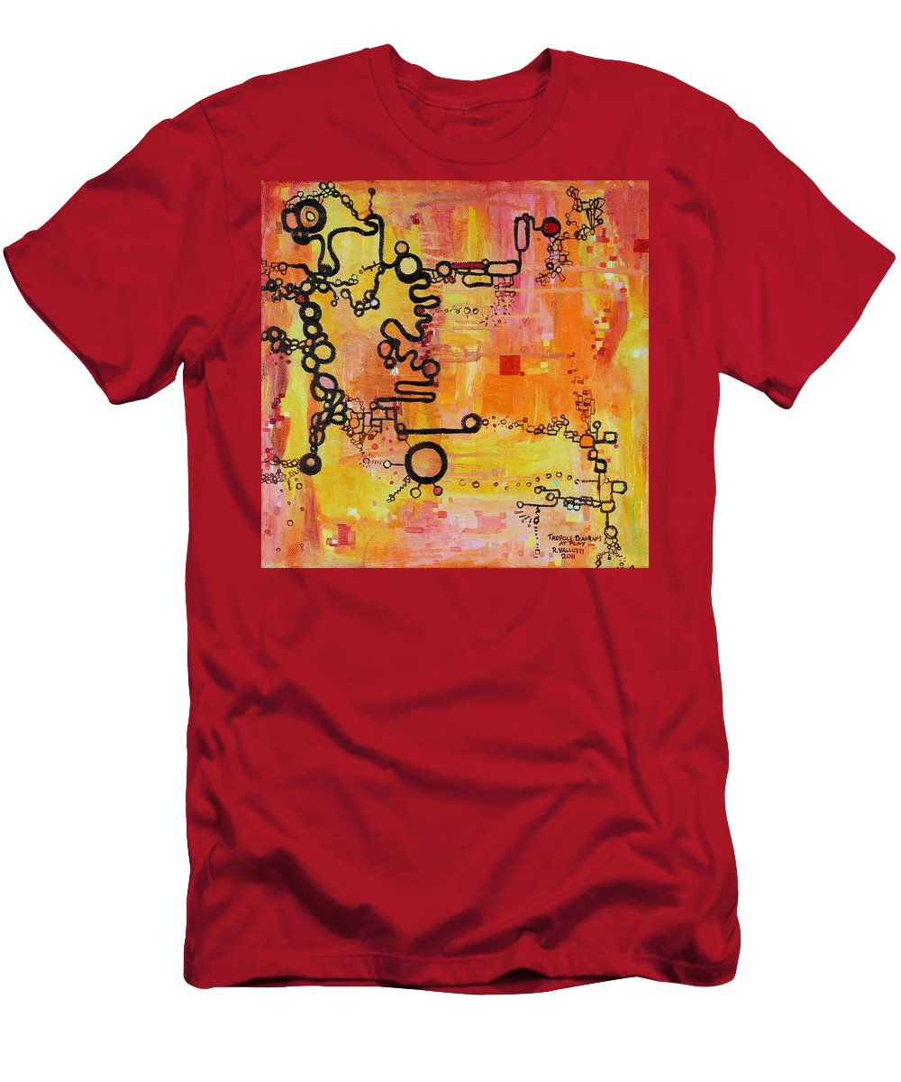 Tadpole Diagram Men's T-Shirt (Athletic Fit) featuring the painting Tadpole Diagrams At Play by Regina Valluzzi