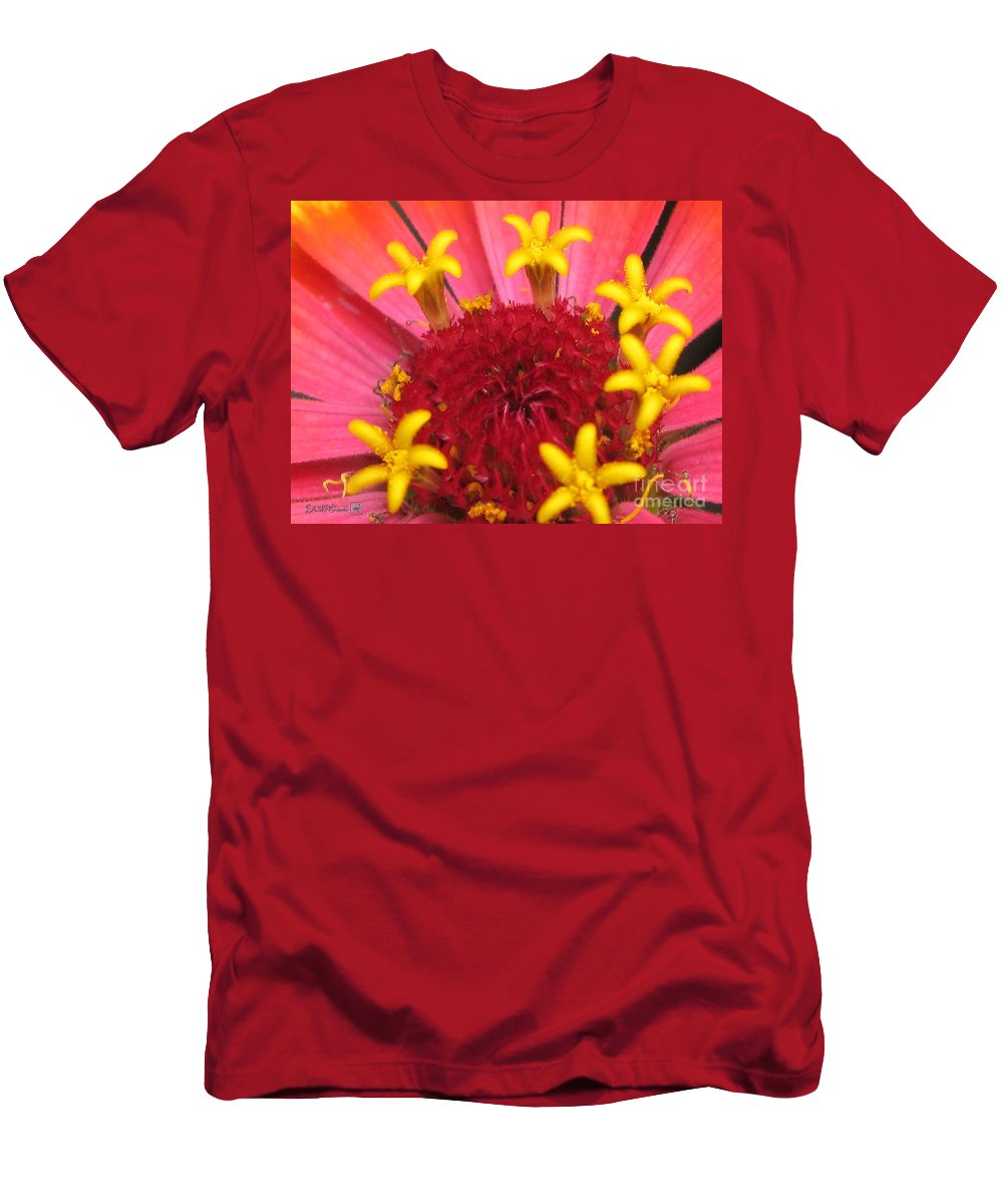 Mccombie Men's T-Shirt (Athletic Fit) featuring the photograph Zinnia Named Swizzle Scarlet And Yellow by J McCombie