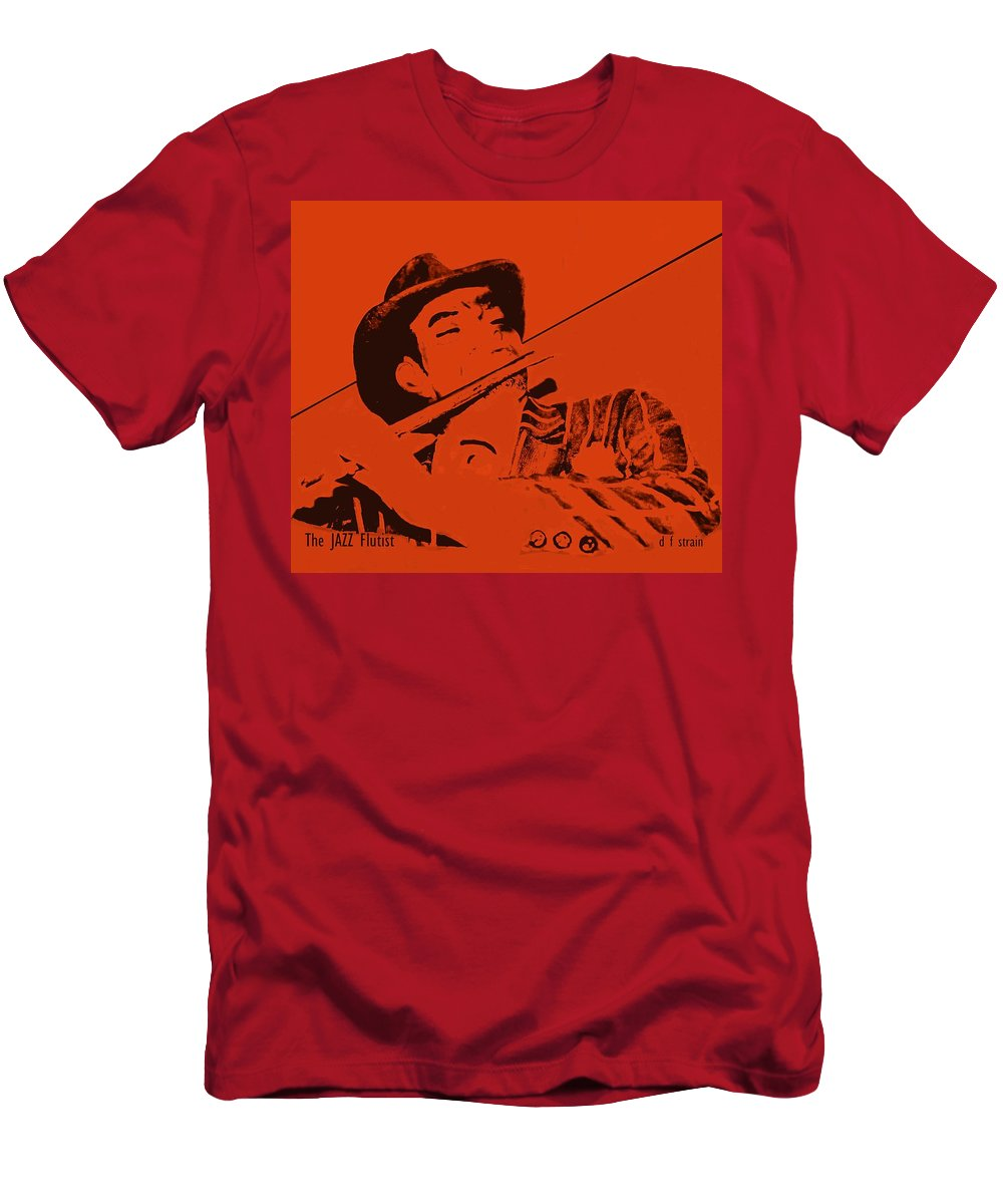 Fineartamerica.com Men's T-Shirt (Athletic Fit) featuring the painting The Jazz Flutist by Diane Strain
