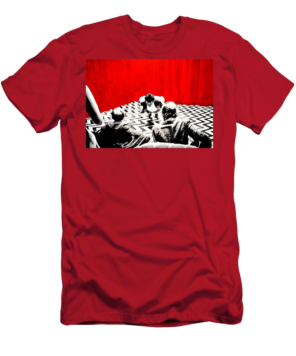 Laura Palmer Men's T-Shirt (Athletic Fit) featuring the painting Black Lodge by Luis Ludzska