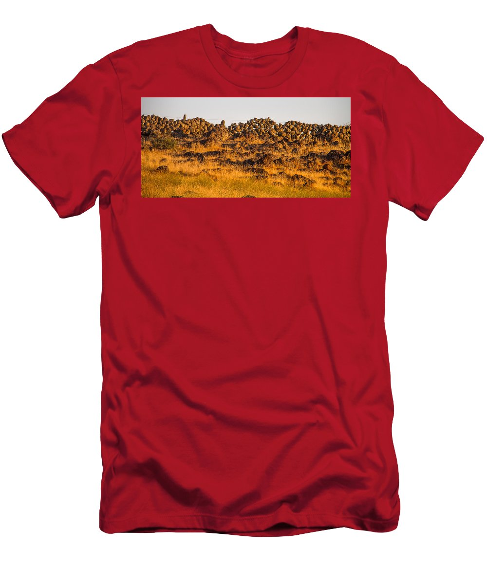History Men's T-Shirt (Athletic Fit) featuring the photograph 1800s Chinese Rock Fence by Brian Williamson