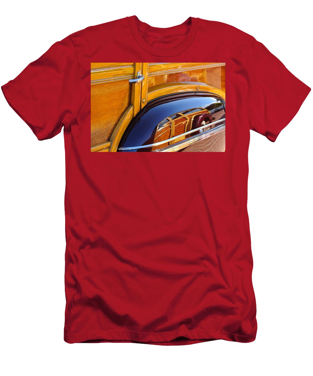 1947 Mercury Woody Reflecting Into 1947 Ford Woody Men's T-Shirt (Athletic Fit) featuring the photograph 1947 Mercury Woody Reflecting Into 1947 Ford Woody by Jill Reger