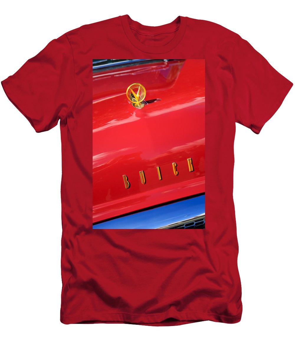 1955 Buick Roadmaster Hood Ornamen Emblem Men's T-Shirt (Athletic Fit) featuring the photograph 1955 Buick Roadmaster Hood Ornament - Emblem by Jill Reger