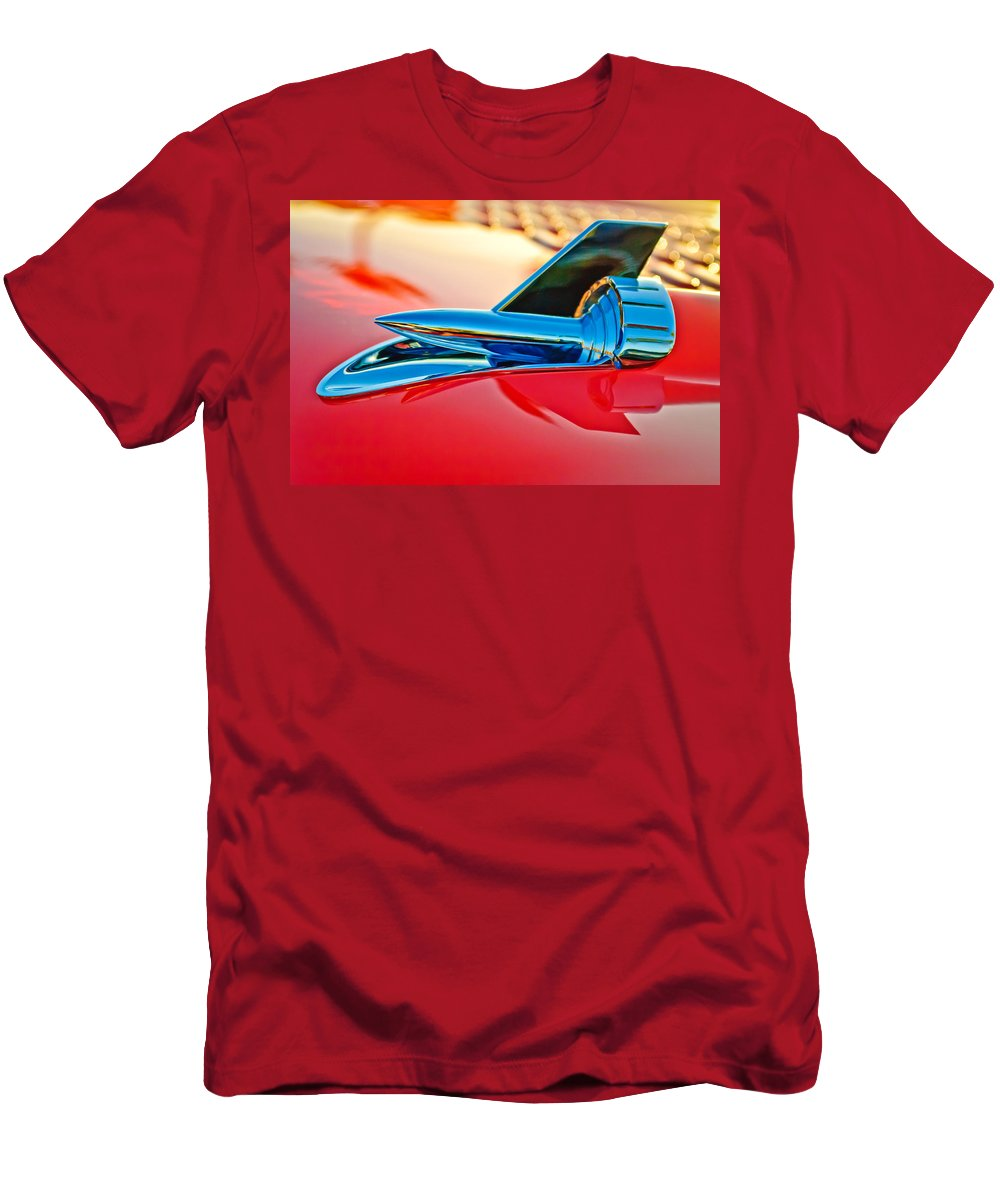1957 Chevrolet Belair Hood Ornament Men's T-Shirt (Athletic Fit) featuring the photograph 1957 Chevrolet Belair Hood Ornament by Jill Reger