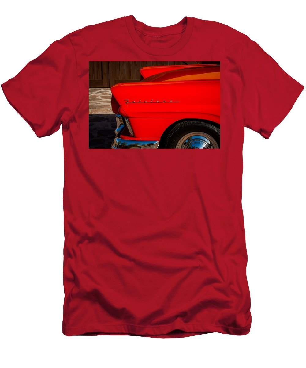 1957 Ford Fairlane Emblem Men's T-Shirt (Athletic Fit) featuring the photograph 1957 Ford Fairlane Emblem -359c by Jill Reger