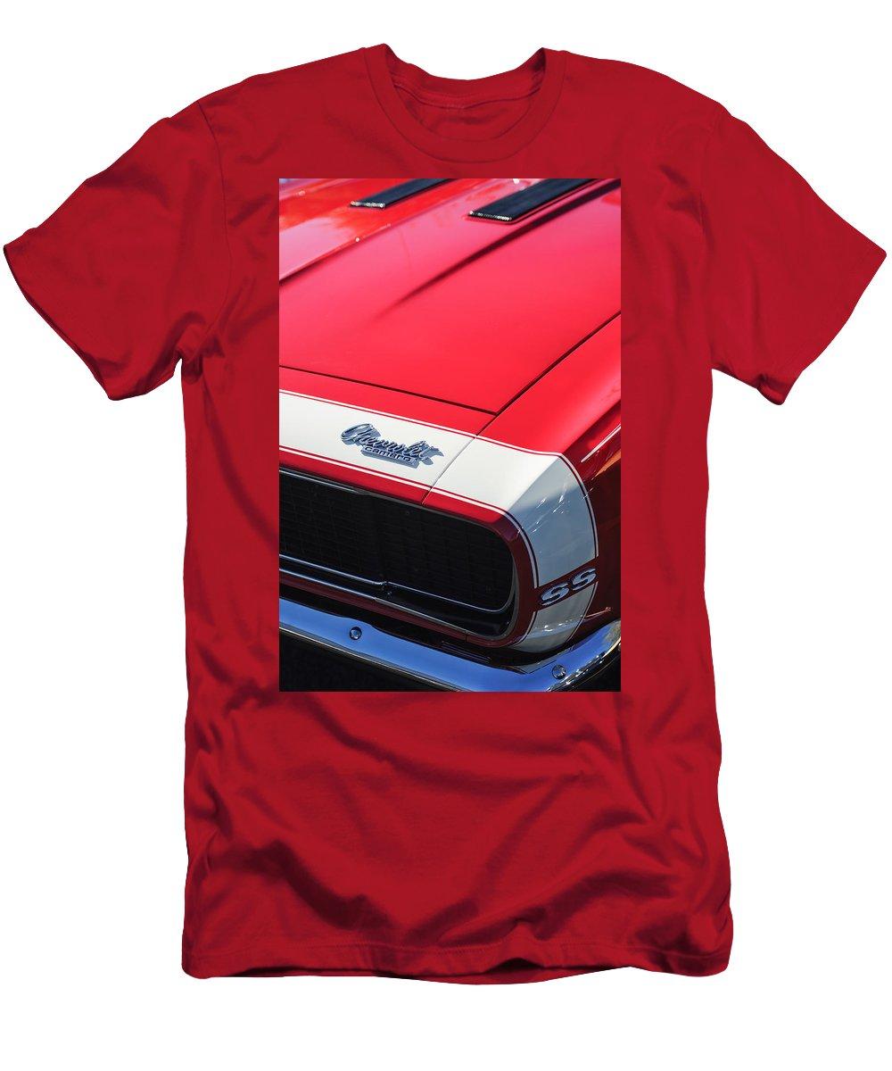 1967 Chevrolet Camaro Ss 350 Convertible Hood Emblem Men's T-Shirt (Athletic Fit) featuring the photograph 1967 Chevrolet Camaro Ss 350 Convertible Hood Emblem by Jill Reger