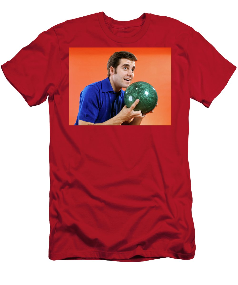 Photography Men's T-Shirt (Athletic Fit) featuring the photograph 1970s 1960s Close Up Of Young Man by Vintage Images