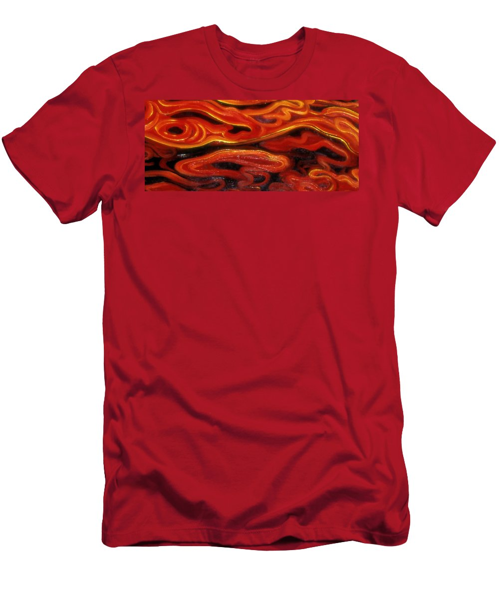 Enio Men's T-Shirt (Athletic Fit) featuring the mixed media Brush Strokes In Red by Genio GgXpress