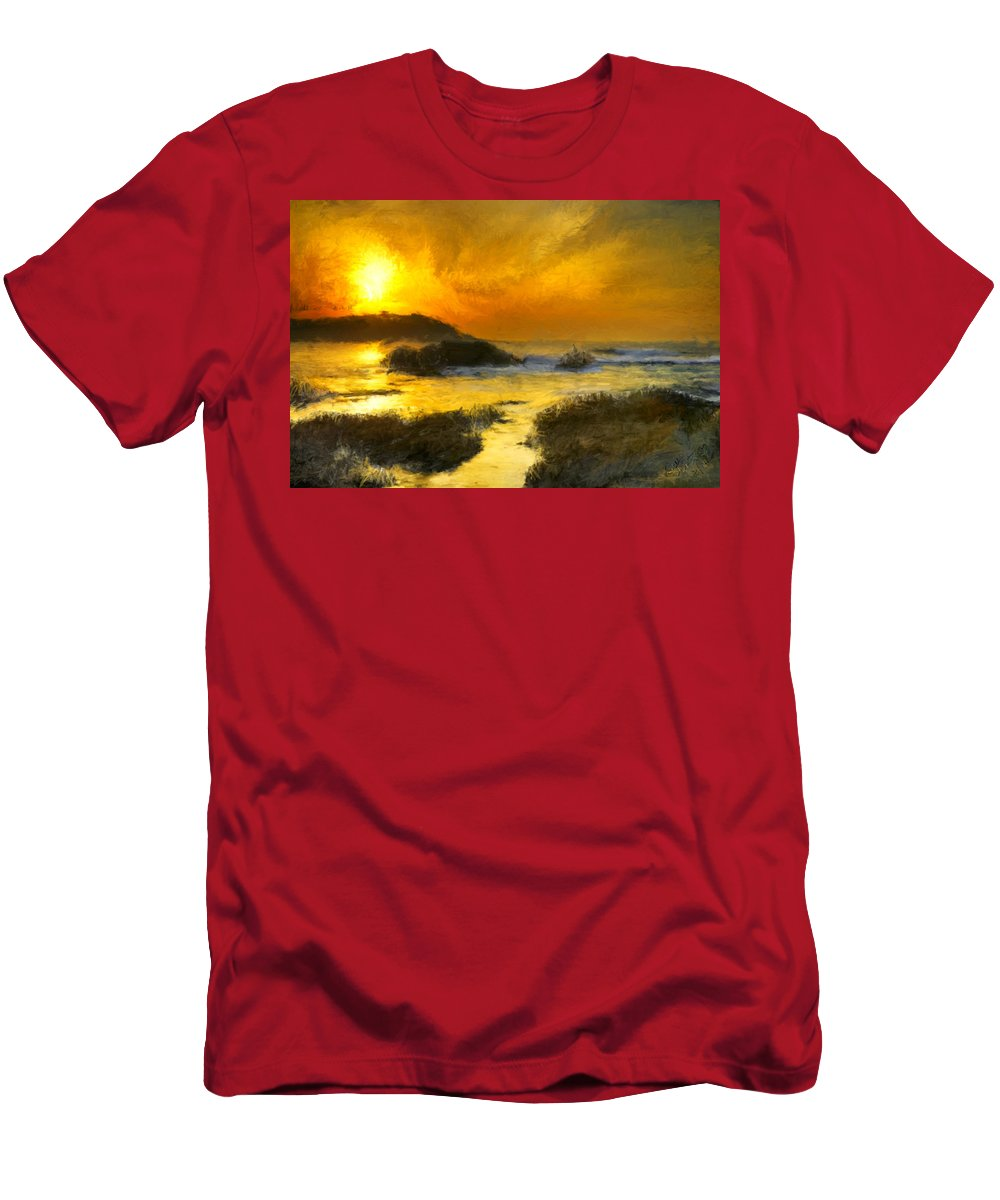Yellow Men's T-Shirt (Athletic Fit) featuring the painting Golden Sky by Bruce Nutting