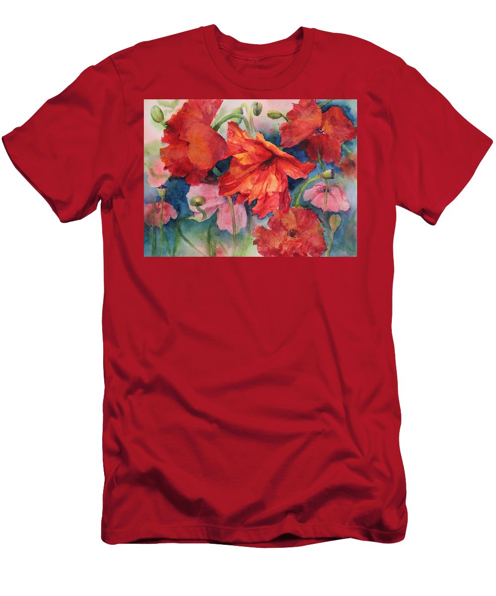 Flowers Men's T-Shirt (Athletic Fit) featuring the painting Oriental Poppies by Ruth Kamenev
