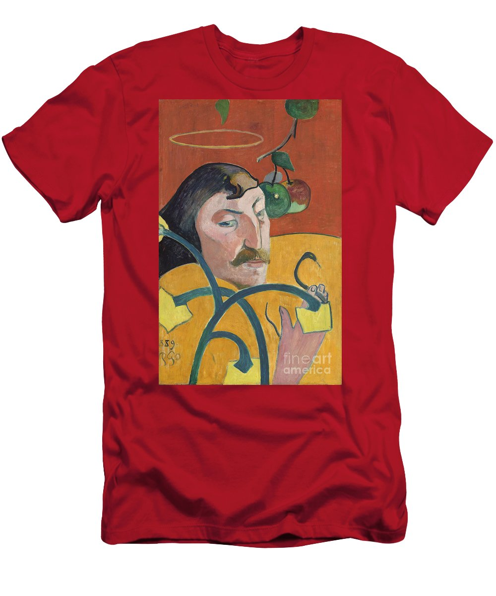 Self; Portrait; Artist; Halo; Post; Impressionist; Expressionism; Expressionist Men's T-Shirt (Athletic Fit) featuring the painting Self Portrait by Paul Gauguin