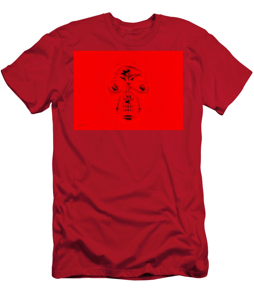 Skull Men's T-Shirt (Athletic Fit) featuring the photograph Skull In Red by Rob Hans