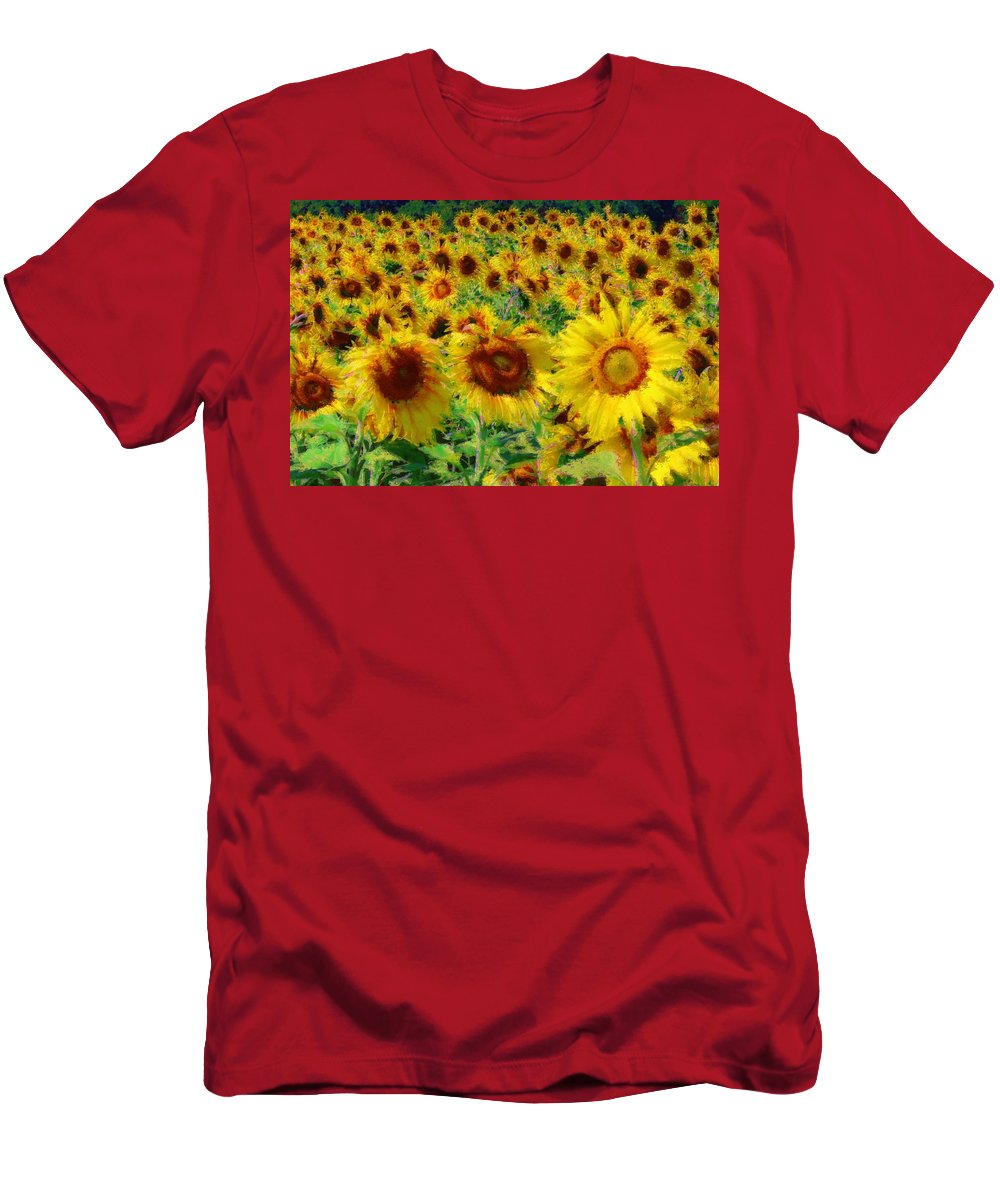 Sunflowers Men's T-Shirt (Athletic Fit) featuring the photograph Sunny Sunflowers by Alice Gipson